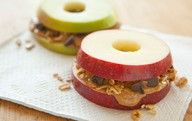 lets see, Apple in place of bread.. with granola peanut butter and raisins... P.S if you soak the apple in lemon juice they wont turn brown and they taste WONDERFUL! trick my mom taught me