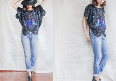 Hand EMBROIDERY  SEQUINED 80s Peacock Blouse/ Indian SILK Slouchy Scallop Hem Top/ Size Small - Large