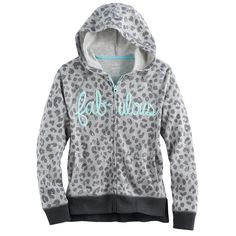 Girls 7-16 & Plus Size SO® Puff-Print Perfect Zip-Up Hoodie, Size: 7-8, Med Grey
