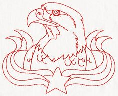 4th of July Redwork Embroidery Set