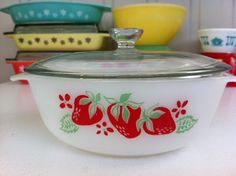 Rare, Australian Agee Pyrex Strawberry casserole! From Fibs & Scraps.