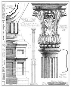 New Orleans French Quarter Mansion Architectural Drawing Blueprint Column Detail. $18.00, via Etsy.