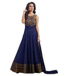 Buy Blue net embroidered semi stitched salwar with dupatta anarkali-salwar-kameez online
