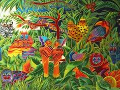 Emerald Laurel Burch Secret Jungle panel, green quilt fabric
