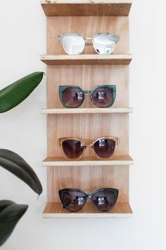 Renter Friendly DIY Sunglasses Holder We could do something like this for anthony's hats!