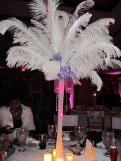 diy wedding centerpieces with feathers