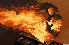 Картинка 700x462 Горящий изнутри череп с открытым ртом   Тэги: Череп   Огонь   Призрачный гонщик