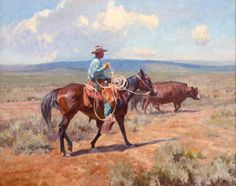 "Grant Redden's ""Summer Work,"" an original fine art oil Western painting of cowboy leading horse on ranch cattle drive by artist and painter Grant Redden Horse Art, Art Oil, West Art, Western Art, Wildlife Art, Painting, Female Art, Art, True Art"