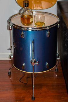 Repurposed Drum Illuminated Side Table