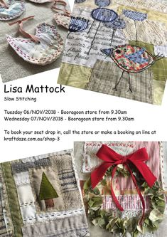 Slow Stitching with Lisa Mattock Hand Embroidery Patterns, Embroidery Needles, Fabric Postcards, Fabric Art, Fabric Books, Fabric Journals, Sewing Appliques, Japanese Embroidery, Hand Quilting