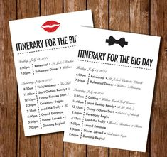 Wedding Stationery Inspiration DayOf Itineraries  Wedding