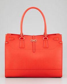 Salvatore Ferragamo Briana Large Leather Tote Bag, Coral - Neiman Marcus
