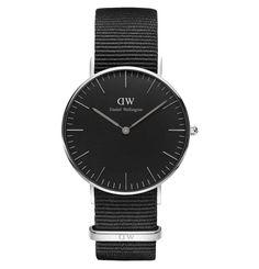 Daniel Wellington Classic Black Armbanduhr Cornwall, Silber 36 mm DW00100151 Schwarz