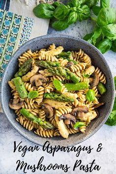 Vegan Asparagus and Mushroom Pasta: Sautéed asparagus, mushrooms, and garlic combine with pasta and a light fat-free sauce in this delicious plant-based meal. Optional soy curls or chickpeas add heartiness, making this a very filling vegan main dish. Asparagus And Mushrooms, Asparagus Pasta, Stuffed Mushrooms, Baked Asparagus, Mushroom Pasta, Vegan Main Dishes, Protein, Vegan Kitchen, Vegan Pasta