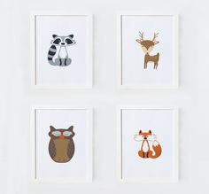 4 set woodland forrest animal art prints, Unisex Nursery Decor. Baby present. Children's Art. by LilacandWhite on Etsy https://www.etsy.com/listing/255047232/4-set-woodland-forrest-animal-art-prints