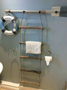 Make a boat ladder and paddle in to a towel rack How cute is this! Make a boat ladder and paddle in to a towel rack The post How cute is this! Make a boat ladder and paddle in to a towel rack appeared first on Charlotte Thompson. Nautical Bathroom Decor, Beach Theme Bathroom, Beach Bathrooms, Coastal Decor, Seaside Bathroom, Bathroom Mirrors, Nautical Bedroom, Coastal Style, Lake House Bathroom