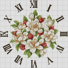 Interesting idea for home décor is a cross-stitch clock. This free cross stitch pattern very beautiful Cross Stitch Love, Cross Stitch Pictures, Cross Stitch Borders, Cross Stitch Flowers, Cross Stitch Charts, Cross Stitch Designs, Cross Stitching, Cross Stitch Embroidery, Embroidery Patterns