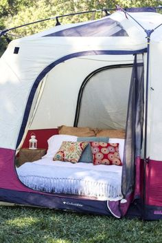 Save this for a variety of easy + creative DIY camping hacks that will make roughing it easier. These DIY projects that bring a little bit of home comfort to the outdoors and back woods. Turn a tent into a boudoir using an air mattress, create plenty of g