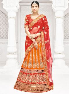 879aeeeafe3 Golden orange and coral red lehenga style saree with blouse.