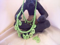 african ethnic jewelry  African Buffalo Bone Tribal Necklace and Earrings