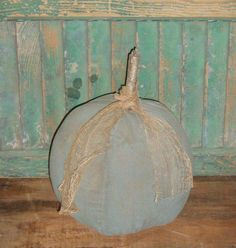 Primitive blue pumpkin, handmade by Prairie Primitives Folk Art.