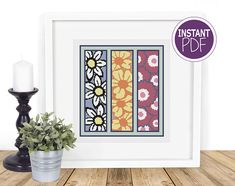 Modern Floral Cross Stitch Pattern PATTERN INFORMATION  Stitches: 129 W x 140 H On 14 count 10 x 10 in ( 24 x 25 cm ) On 18 count 8 x 8 in ( 18 x 20 cm ) On 20 count 7 x 7 in ( 17 x 18 cm ) On 22 count 6 x 7 in ( 15 x 16 cm ) Floss used on the chart : DMC 10 colours  Types of