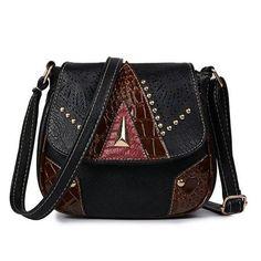 9702c35fe91d Vintage Shoulder Leather Hollow Out Rivet Crossbody Bag. Bolso Crossbody De  ...