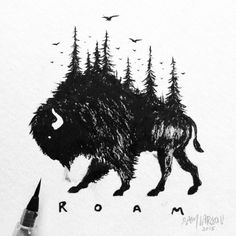 """steelbison: """"BRUSH PEN BISON Accidentally smeared a couple parts due the ink not setting into the paper. #bison #art #illustration """""""