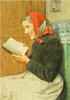 Albert Anker (1831-1910), 1907, 'Grandmother reading on stove', Watercolor on paper.