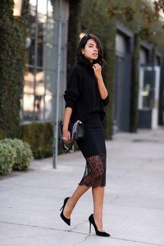 black, lace, hem, midi, skirt