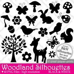 Clip Art Set - Woodland Silhouettes