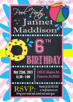 Pool Party Invitations  DIY Custom Printable Birthday Party