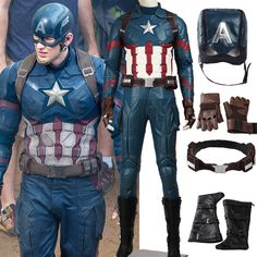 2016 Marvel The Avengers:Age of Ultron Captain America 3 Civil War Cosplay Costume Steve Rogers Outfits Adult Superhero Costume