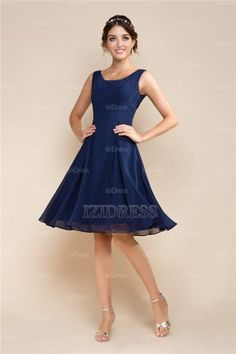 A-Line/Princess Square Chiffon Cocktail Dress - IZIDRESS.com in turquoise or brown