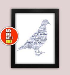 Pigeon personalised art print  Pigeon racing  by pienosudesigns