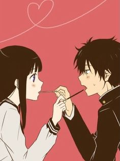 *:・゚✧*:・゚✧*:・゚✧*:・゚✧*:・゚✧*:・゚ Anime couple | chitanda and oreki from hyouka | pocky stick *:・゚✧*:・゚✧*:・゚✧*:・゚✧*:・゚✧*:・゚