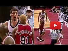 Dennis Rodman challenges 7'7' Gheorghe Muresan with no fear lo #nba #pinterest #dennisrodman #champions #oldschool #nba #90s