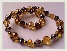 Champagne and violet Swarovski crystals and gold spacer bracelet.  on Etsy, $21.00