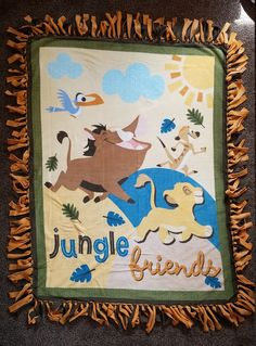 The Lion King Jungle Friends Fleece Tie Blanket by BetsysItsyEtsy on Etsy