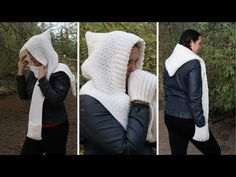 The Woodland Hooded Scarf crochet pattern is an easy to follow free pattern for a unique hooded scarf with pockets. Winding Road Crochet Diy Crochet Scarf, Crochet Adult Hat, Crochet Hooded Scarf, Crochet Hoodie, Crochet Cape, Crochet Beanie Pattern, Crochet Square Patterns, Crochet Scarves, Knit Crochet