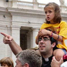 A little girl watches for #PopeFrancis during the general audience in the #Vatican on June 25. #Catholic #Rome #Church #faith