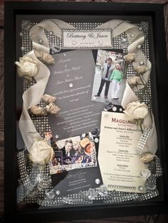 Wedding Shadow Box Inspiration: Add: First Dance Lyrics, Wedding Day Menu, Special Cards, Bouquet, Invitation, Maid of Honor/Best Man Speech, Flowers You Wore in Your Hair, Your Something Blue, Pictures Signing License, Garter, etc.