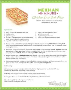 Pampered Chef Chicken Enchilada Pizza Recipe. This is definitely good!