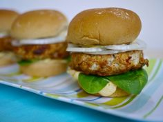 Grilled Chicken Sliders with ginger-mango mayo and a spicy-sweet pineapple glaze!