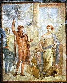 A mural in Pompeii, depicting the marriage of Alexander to Barsine (Stateira) in 324 BC. The couple are apparently dressed as Ares and Aphrodite.