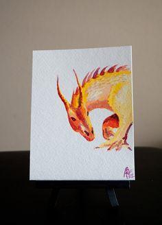 Fierce Fire Dragon Watercolor  OOAK by AnikasArt on Etsy, $25.00