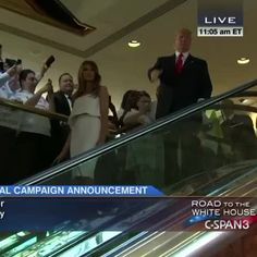 Donald Trump enters on escalator