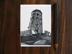 Aceo stone tower - mini fine art print - pencil drawing - black and white - rock landscape - small (2.5 x 3.5)