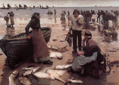 'A Fish Sale on a Cornish Beach'  ~ Stanhope Alexander Forbes (1857-1947)  Irish artist & a founding member of the influential Newlyn school of painters.
