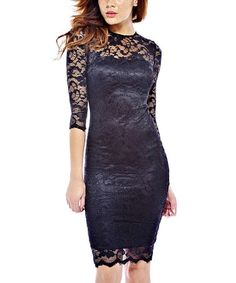 Another great find on #zulily! Black Lace-Trim Sheath Dress #zulilyfinds